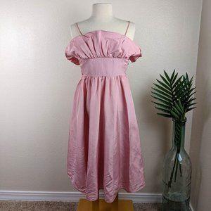 Vintage Gunne Sax Tafetta Ruffle Tank Dress Pink